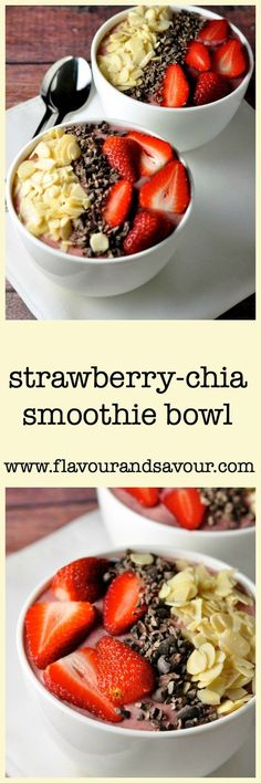 *Cookbook* Strawberry-Chia Smoothie Bowl from Flavour and Savour. A healthy way to start your day. Banana, strawberries, chia seeds and milk of your choice. Add fresh fruit and nuts for extra crunch. It's Paleo too! Breakfast Smoothies, Breakfast Bowls, Healthy Smoothies, Smoothie Recipes, Healthy Snacks, Breakfast Recipes, Vegetarian Smoothies, Raw Breakfast, Smoothie Bowl