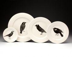 Laura Zindel black birds dinner plates