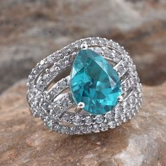 Capri Blue Quartz and White Topaz Platinum Over Sterling Silver Ring