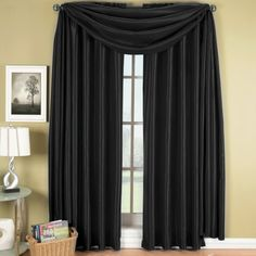 Elegance Solid Rod Pocket Window Treatment- Panels, Valances and Scarves. Available in various colors and sizes to enhance your home décor. 42X108 IN Each Panel, Black Deluxe Linens Collection http://www.amazon.com/dp/B00SSK8ZII/ref=cm_sw_r_pi_dp_eEYlvb1ZDMD6G