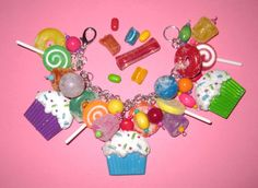 Candy Jewelry Charm Bracelet Sweet Shoppe Cupcakes Treats by Jynxx, $35.00