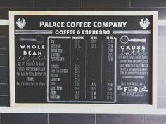 Palace Coffee Company-Amarillo/Canyon, Tx #chalkboard #chalkboardmenu #chalk #coffee #coffeeshop