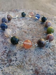 Mixed Color Genuine Gemstone Wire Link Bracelet With Lobster Clasp, Made to Order, Perfect Gift! by PurpleMoonJewelryCA on Etsy