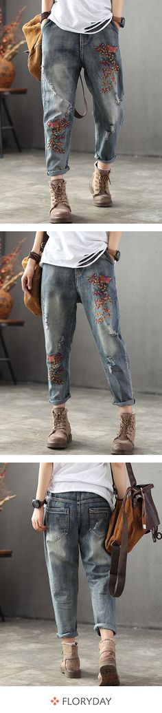 Buy Pants & Leggings, Online Shop, Women's Fashion Pants & Leggings for Sale Fashion Pants, Boho Fashion, Womens Fashion, Polo Lacoste, Moda Retro, Painted Jeans, Mein Style, Womens Shoes Wedges, Embroidered Jeans