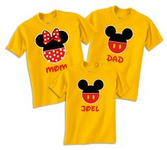 ****Disney Mickey and Minnie Pants Family Vacation T shirt Customized with Name****    ____The listing is for 1 Custom Design T-Shirt of your choose one