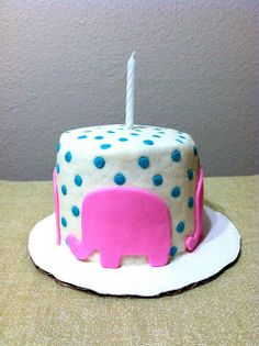 Pink elephant birthday cake Vegan and made out of marshmallow