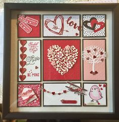 Stampin Up Valentine's Day Framed Art Box Frame Art, Box Frames, Collage Frames, Christmas Shadow Boxes, Christmas Frames, Valentine Cards, Valentine Day Crafts, Candy Cards, Frame Crafts