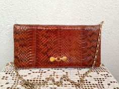 Genuine Snakeskin Brown Clutch With Gold Chain Strap, Studio 54 Handbag, Envelope Clutch by Jane Shilton,Wallet Organizer, 70s 80s Purse by BlastFromThePastBags on Etsy