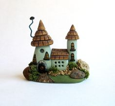 Miniature  Charming Tile Roof Fairy Cottage House OOAK by C. Rohal by ArtisticSpirit on Etsy