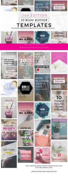 Blog Instagram Pinterest Banners 2 by Holly McCaig Creative on @creativemarket