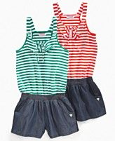 Guess Kids Romper, Little Girl Striped and Chambray Romper