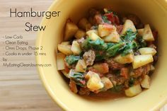 Hamburger Stew Serves 1 Phase 2 friendly for the Omni Drops Program Write a reviewSave RecipePrint Ingredients 4 oz ground beef (hamburg) 3 ...