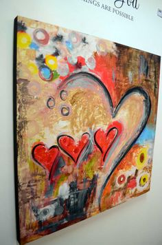 """HEART PAINTINGS AND HEART ART  Title: """"One Love One Destiny""""  This fun and playful art pieces uses a combination of brightly colored hearts and shapes combined with a neutral tone background for a work of art that pops with an abundance of love.  Visit our page at http://www.ivanguaderrama.com/        Buy Heart Prints  http://fineartamerica.com/profiles/ivan-guaderrama-art-gallery.html"""
