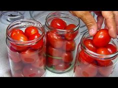 Reteta Rosii la borcan pentru iarna - YouTube Conservation, Mason Jars, Food And Drink, Vegetarian, Healthy Recipes, Stuffed Peppers, Canning, Vegetables, Ethnic Recipes