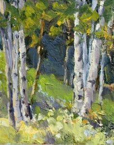KM2516 Glorious Summer aspen, landsscape, summer, original oil painting, painting by artist Kit Hevron Mahoney