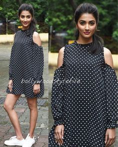 Pooja Hegde in a Zara Dress for Mohenjodaro promotions @bollywoodstylefile…