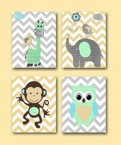 Monkey Nursery Owl Nursery Giraffe Nursery by artbynataera on Etsy