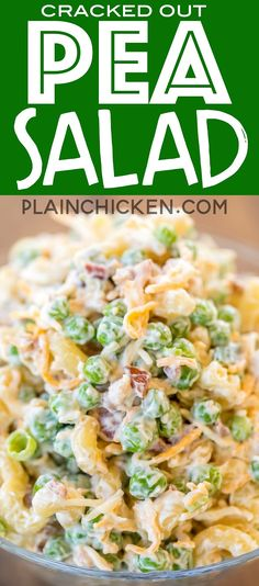 Cracked Out Pea Salad - Macaroni and green peas tossed in mayonnaise, cheddar, bacon and ranch. Great for potlucks or a side dish with a sandwiches. Great for all your spring and summer cookouts! Can make ahead and refrigerate until Pea Salad Recipes, Pea Recipes, Side Dish Recipes, Cooking Recipes, Macaroni Salad With Ham And Cheese Recipe, Gluten Free Macaroni Salad Recipe, Pasta Salad Recipes Cold, Macaroni Pasta Salad, Side Dishes For Ham