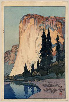 """""""El Capitan"""" by Yoshida, Hiroshi, 1925. Japanese woodblock print"""