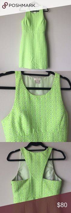J. Crew Dress Beautiful Lime Green Dress! Worn Just Once! Attractive Back Cut Out. Fully Lined, Side Zipper with Hook Closure At Top. **First image is a stock photo. J. Crew Dresses