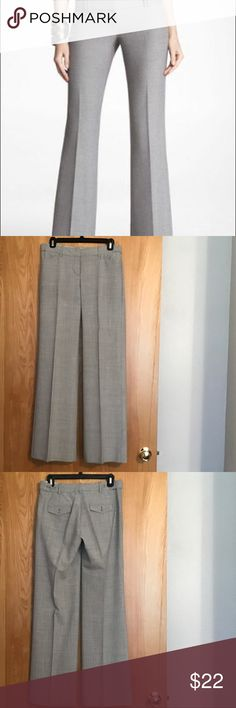 Express Wide Leg Editor Pants - 2 Express Wide Leg Editor Pants - 2 - Inseam 32 - 63% Polyester 33% Rayon 4% Spandex - These are super light weight & very comfortable. The very bottom of the pants that touch the ground are slightly stained, but you can barely see it. These have always been dry cleaned. Express Pants Wide Leg