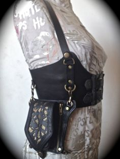 Bustier Corset Shoulder Harness with Holster Bag Attachment - Black Leather with Brass Embellishments. $350.00, via Etsy.