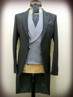 Classic Steel Grey Tailcoat & Dove Grey double breasted waistcoat. Worn with Donegal Tweed Tie & matching Handkerchief.