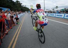 Peter Sagan wheelies after winning the overall title at the Tour of California (Getty Images Sport)