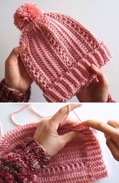 How to Crochet an Easy and Romantic Beanie Stricken ist so einfach wie 1 2 3 Crochet Adult Hat, Bonnet Crochet, Crochet Beret, Crochet Diy, Crochet Beanie Pattern, Crochet Scarves, Crochet Crafts, Crochet Stitches, Crochet Projects