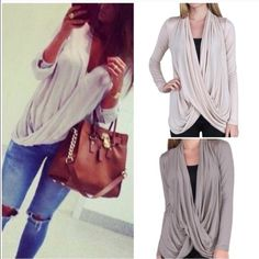BEST SELLER Criss Cross Drapey Top Best selling top! Available in three colors. 1 grey LG, Cream M, L, XL, 1 black MED. Price is Firm. ❌NO TRADES/PP❌ Tops