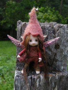 3  inches  tiny fairy fairie  posable ooak. $98.00, via Etsy.