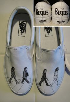 Custom vans with The Beatles on Abbey Road. and so so so so want The Beatles, Custom Vans Shoes, Custom Design Shoes, Painted Vans, Hand Painted Shoes, Vans Shoes Fashion, Painted Clothes, Shoe Art, Fashion Shoes