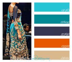 orange color palette | Royal Blue & Luxurious Orange Lengha {Color Palette Monday}