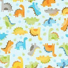 Colorful dinos fabric