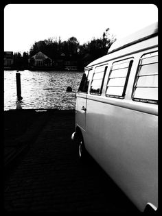 Angel our split screen camper van by the river