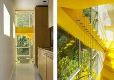 The tower house par GLUCK+ architects Le verre qui constitue la majeure partie de l'habitation agit de jour comme un réflecteur de la nature environnante