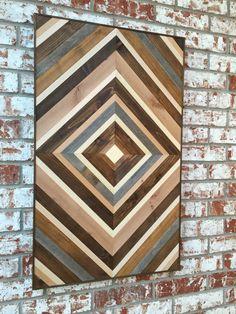 Reclamado de Chevron arte de pared de madera madera arte