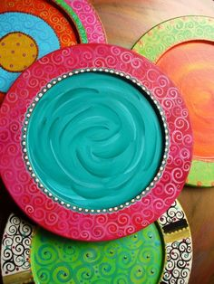Hand Painted Wood Cake Plate by DJArt on Etsy, $18.00