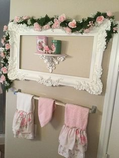 Love the Swag of Pink Roses on an ornate white Picture Frame. Very Pretty. #shabbychicbathroomspink #shabbychicdecor