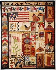 Primate Block Exchange--There's so many things going on in this amazing quilt! Primitive Quilts, Primitive Patterns, Primitive Folk Art, Primitive Stitchery, Primitive Snowmen, Primitive Crafts, Wood Crafts, Rustic Quilts, Primitive Stars