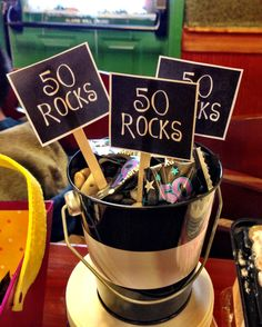 50 Year Old Birthday Decorations 50 Rocks Birthday Present Ideas for 50 Year Old - BirthdayBuzz 50th Birthday Party Ideas For Men, Moms 50th Birthday, 50th Birthday Gag Gifts, 40th Birthday Quotes, Birthday Cake Card, Fifty Birthday, 70th Birthday Parties, 50th Party, Happy Birthday Greetings