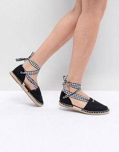 069baa3070bef Shop South Beach Two Part Espadrilles in Black With Gingham Tie at ASOS.