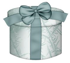 White Round Gift Box with Blue Bow Clipart