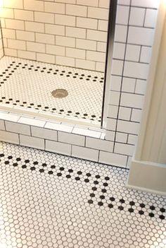 Creative Tile Flooring Patterns White Hex Tile With Black Border