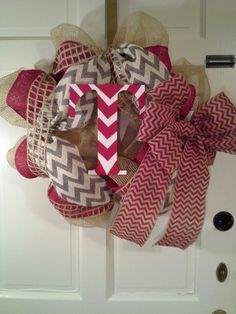 """Other Pinner Says """"T for Talan  =) Burlap wreath""""; but I went straight to """"Texans""""- Super cute for baseball lovers"""