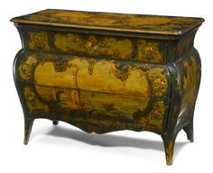 An Italian Rococo and later decorated chest 18th century