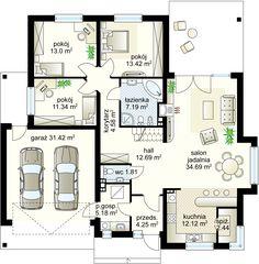 Kajtek projekt - Parter 122.61 m²  + garaż 31.42 m²