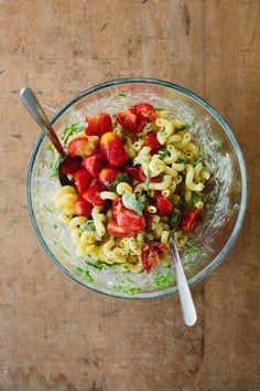 herb tomato pasta salad with mustard vinaigrette. vegan