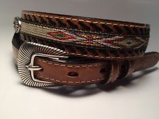 Ladies Woman's Western Embroidered Concho Tan Brown Leather Braided Belt Large