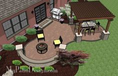 The Concrete Paver Patio Design with Pergola features large circular areas for outdoor dining and fire pit or seating. Layouts, how-to's & material list. Pergola Patio, Pergola Kits, Backyard Patio, Backyard Landscaping, Pergola Ideas, Pavers Ideas, Patio Ideas, Cheap Pergola, Florida Landscaping